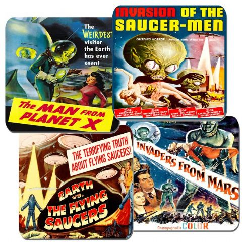Vintage 50's Sci Fi Space Movie Film Poster Coasters Set Of 4. High Quality Cork